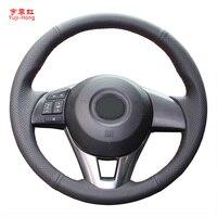 Yuji için Hong suni deri araba direksiyon kapakları MAZDA CX-4 CX-5 Mazda 3 Axela Atenza el dikişli