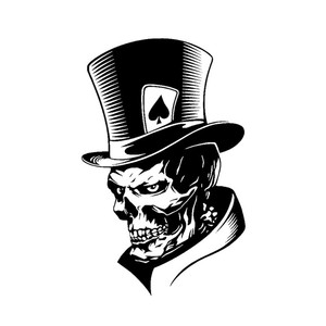 Image 1 - 1PC Funny Joker Skull Computer Stickers PET Reflective Laptop Skin Vinyl Sticker Moto Car Bumpuer Suitcase Decoration Sticker