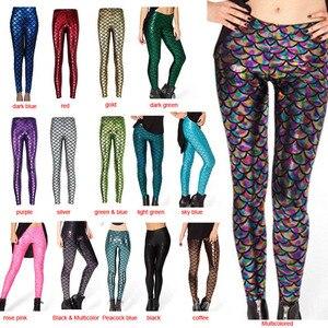 Image 3 - Pantalones de moda para mujer, Leggings con estampado Digital, sirena pez escamas, LXH