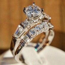 IPARAM Women's Crystal Silver Color Wedding Ring 2020 Luxury Elegant Geometric Brand Jewelry Ring Fashion Vintage Bridal Ring
