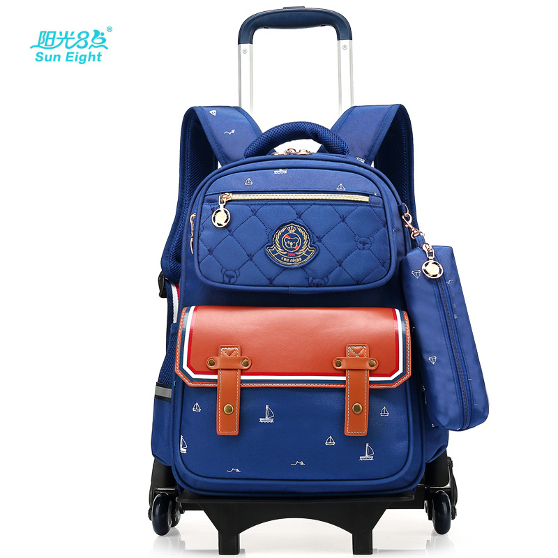 Children School Bags with 6 Wheels Removable Kids Trolley Schoolbag Boys Girls Rolling Backpack Wheeled Child Bookbag luggage