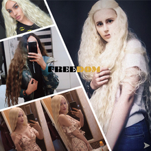 Synthetic Lace Front Wigs 40 Inch Supper Long Deep Natural Wave Ombre Blond 613 Color Hair Wigs For Black Women Fashion