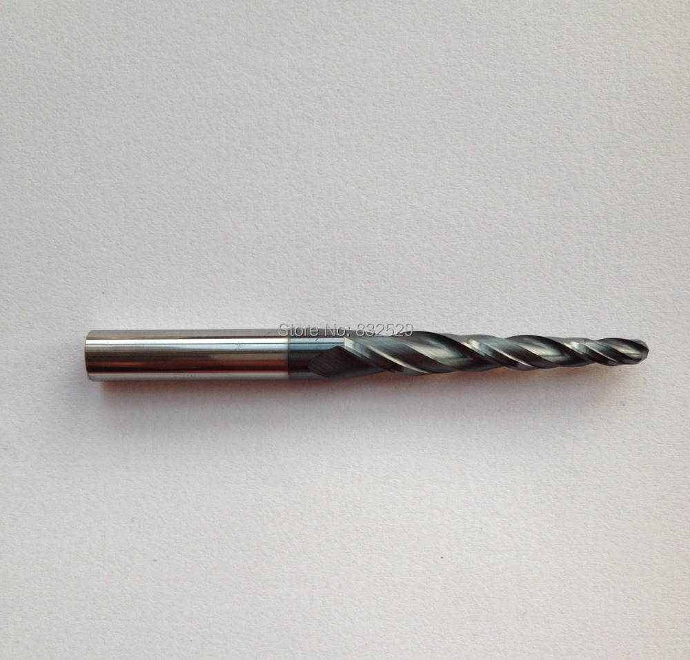 1pc HRC55 R2.0*D8*45*85L*2F Tungsten solid carbide Coated Tapered Ball Nose End Mills taper and cone endmills