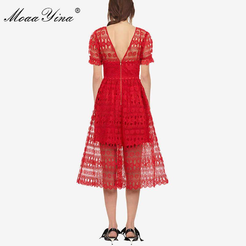 MoaaYina сезон: весна–лето Новое Красное Кружевное платье миди с коротким рукавом Глубокий V пикантные Для женщин платье Высокое качество