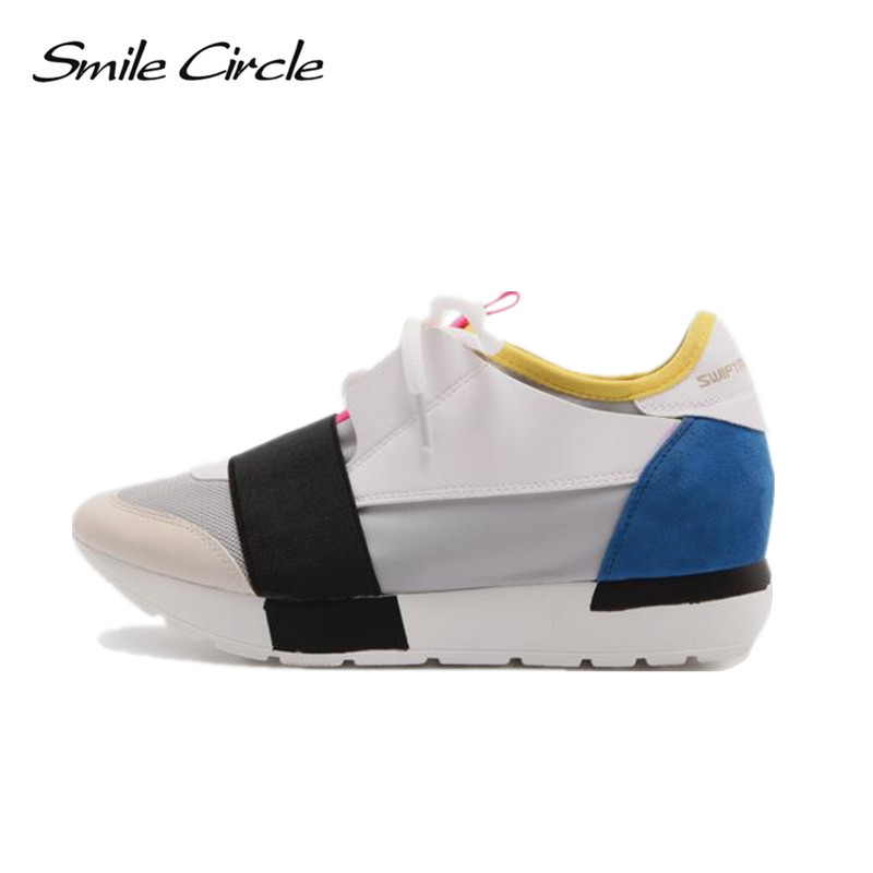 Smile Circle 2018 Spring Autumn Casual Shoes Womon Fashion Pointed toe Lace-up Sneakers For Women Flat Platform Shoes woman smile circle spring autumn women shoes casual sneakers for women fashion lace up flat platform shoes thick bottom sneakers