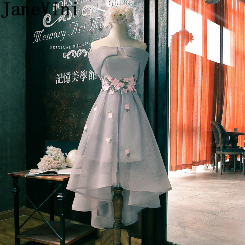 JaneVini Light Gray High Low Long   Bridesmaid     Dresses   Tulle Boat Neck Lace Appliques Sleeveless Ankle Length Wedding Guest Gowns