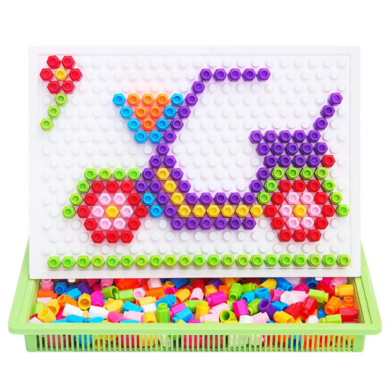 Creative Beads: Children DIY Intelligence Magic Puzzle Board,Assemblage
