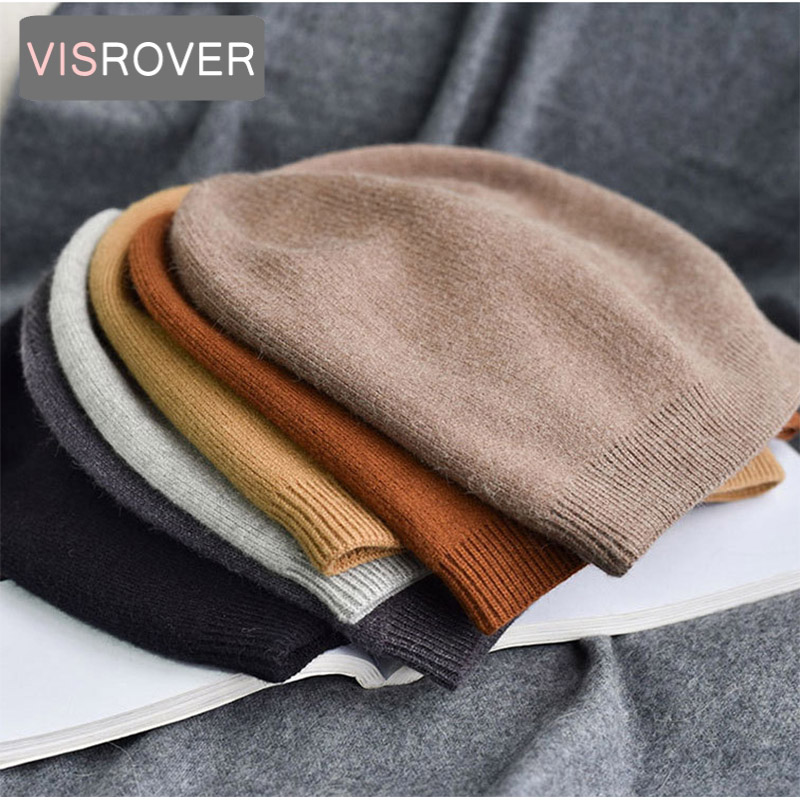 VISROVER 6 colors unsex Autumn winter solid color real cashmere   beanies   best matched New cashmere man woman Warm   skullies