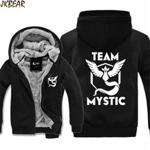 2016 Fall Winter Pokemon Go Team Mystic Articuno Print Faux Fur Lined Hoodies for Adults Warm Jacket Coats with Big Hood M-3XL