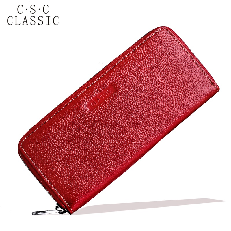Long Wallet Womens Red Real Genuine Leather Zipper Wallets Women Clutches Female Ladies Purse for Coins Phone Card Holder bag sammons brand new design fashion genuine cow real leather men long zipper clutches cards phone holder wallet
