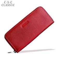 Portefeuille Long Femmes Rouge Réel Véritable En Cuir Zippée Portefeuilles Femmes Embrayages Femelle Dames À Main pour les Pièces Téléphone Titulaire de la Carte sac