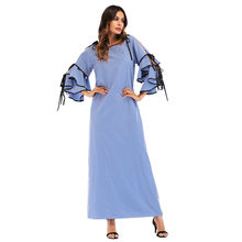 Women Muslim Dress Plaid Loose Long Abaya Dress 3 4 Cascading Ruffled  Sleeve Dubai Turkish Islamic Clothing Ropa musulmana mujer a78f0b70e499