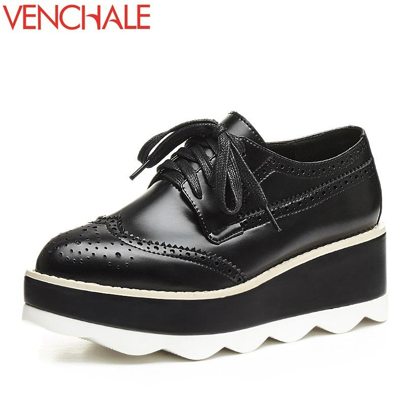 VENCHALE zapatos mujer wedges high heels lace-up shallow pointed toe platform casual all-match style shoes fashion woman pumps korean woman high heel pointed toe solid mujer pumps shallow mouth square heels womens shoes work office lady all match tacones