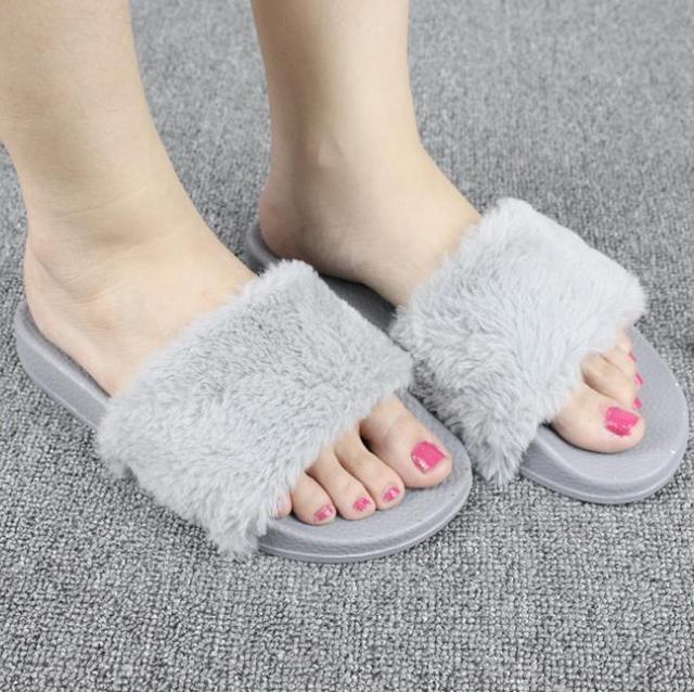 7a91d65c 2018 New Casual Slipper Flip Flop Sandal Womens Slippers Ladies Slip On  Sliders Fluffy Faux Fur Flat Size 36~41 Autumn winter