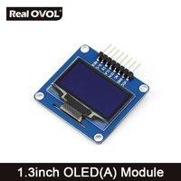 1.3 pulgadas OLED (A) SPI/I2C interfaces, curved/horizontal pinheader SH1106 Chip de Controlador LED, color Azul, gran angular Visible