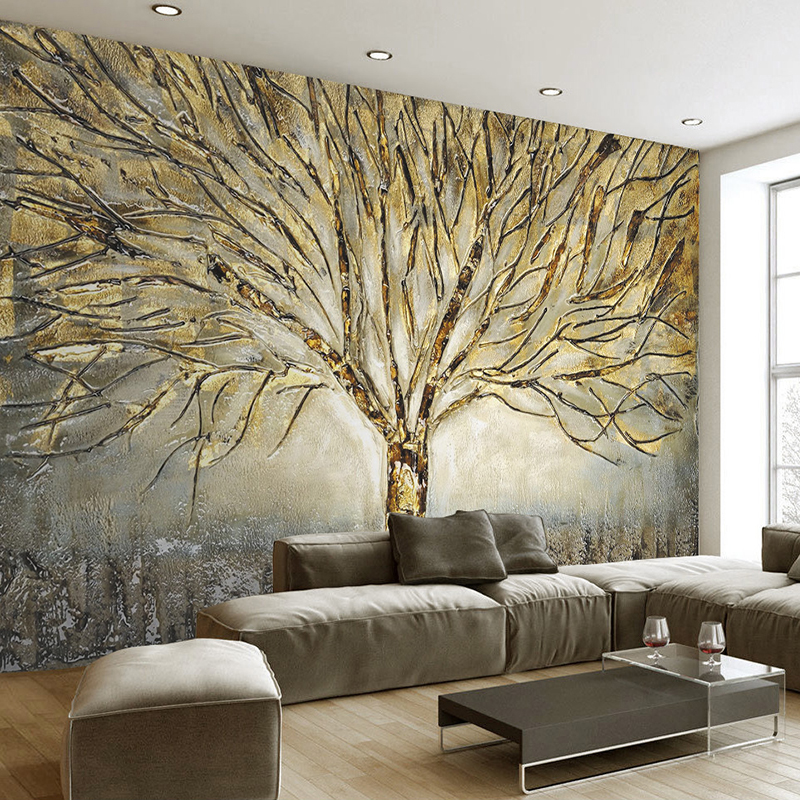 mural murals wall 3d painting tree abstract living modern relief tv paper background custom oil metal sofa wallpapers decor bedroom