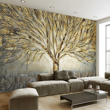 3D Wall Murals Wallpaper  Abstract Art Relief Oil Painting Tree