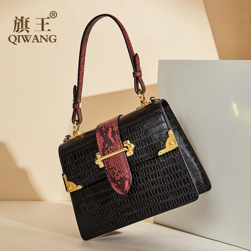 Qiwang rabat noir sac à main motif serpent en cuir femmes Top poignée sac 100% en cuir véritable sacs à main de luxe dame sacs à bandoulière-in Sacs à bandoulière from Baggages et sacs    1