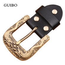 3D Solid Brass Men Belt Buckle Chinese Dragon Pin Buckle Fashion Jeans Waistband Buckles For 3.8cm Belt DIY Leather Accessories(China)