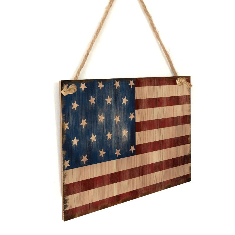 Image 3 - Vintage Wooden Hanging Plaque American Flag Sign Board Wall Door Home Decor Independence Day Party Gift-in Plaques & Signs from Home & Garden