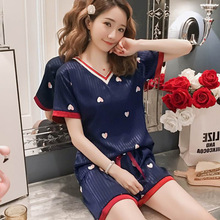 2019 new pajamas for women summer short-sleeved V-neck silk Tshirt shorts two-piece clothing ladies home service Pyjamas