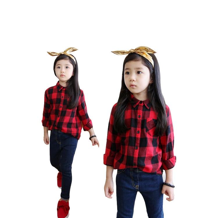 Këmishë vjeshte 2017 për djem dhe vajza Bluzë me pllaka të kuqe - Veshje për fëmijë - Foto 6
