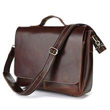 100% Genuine Leather Bag For Men Dark Brown Briefcases Portfolio Handbag 7108R