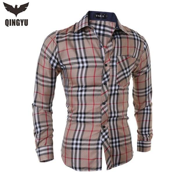 2016 Camisa de Los Hombres Camisa A Cuadros de Ocio Delgado Raya Chemise Homme Camisa de Manga Larga Hombres Camisas Hombre camisa de Vestir Masculina Sociales