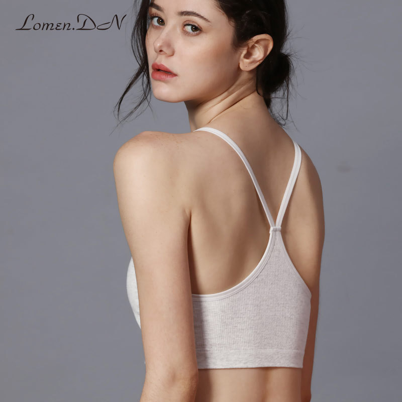 Sports underwear female shockproof running gather anti sagging comfortable cotton yoga bra thin section without steel ring