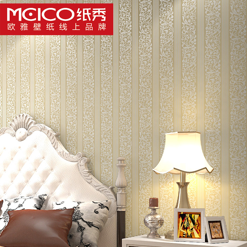 ФОТО 2016 new bestselling European stripe non-woven wallpaper TV setting wall stickers waterproof of sitting room bedroom study