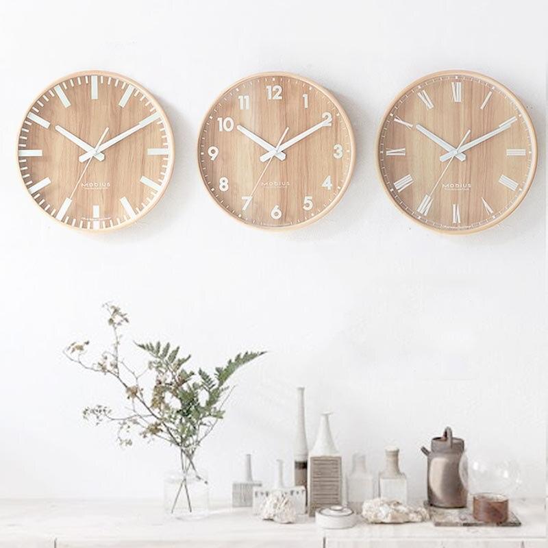 12 Polegada Estilo Nórdico Moderno Relógio de Parede De Madeira Natural Agulha Relógio de Quartzo Rodada Relógio Pendurado Na Parede Do Quarto Decoração Artesanato