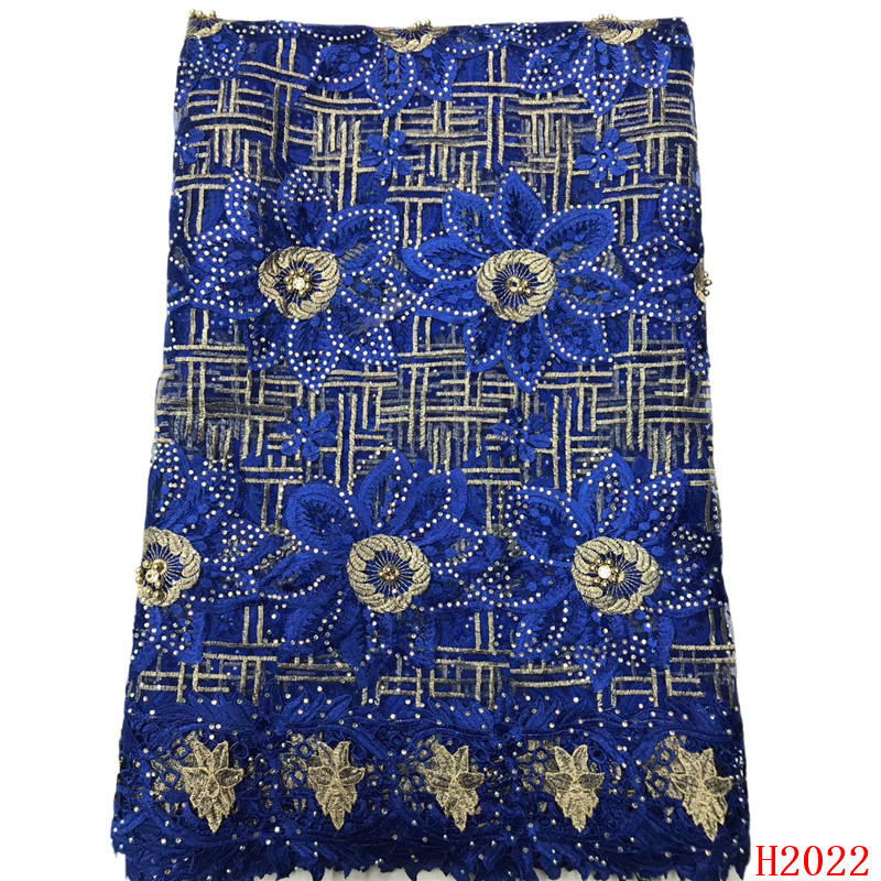 Cordon tissu en dentelle 2019 qualité supérieure Bleu Royal Dentelle Guipure Africaine Cordon Dentelle Broderie Mariage Nigérian tissu en dentelle HJ2022-1