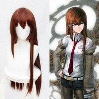 Anime Steins Gate Makise Kurisu Christina Assistant Brown Straight Long Wig Cosplay Wig 80cm Halloween