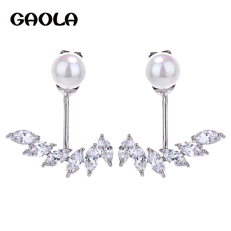 New Arrival New Design Special Trendy Earring Long Silver With Freshwater Pearl Stud Earring Crystal Jewelry for Woman GLE4930