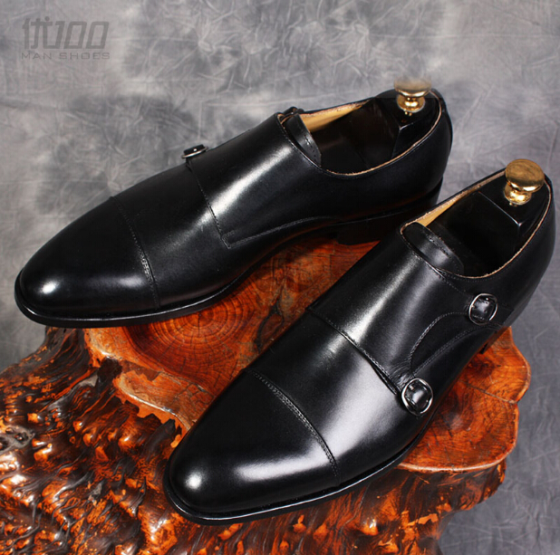 2017 Italy mens genuine leather handmade monk shoes black color mens business formal shoes top quality chaussure homme EU452017 Italy mens genuine leather handmade monk shoes black color mens business formal shoes top quality chaussure homme EU45