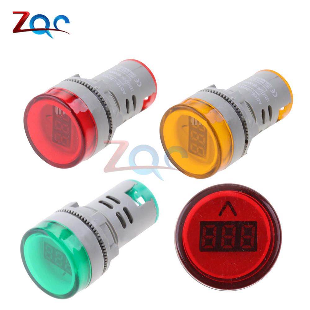 22MM AD16 type AC60-500V Mini Voltage Meter LED Digital Display AC Voltmeter Indicator Light/Pilot Lamp Red Green Yellow new red yellow green light lamp 22 mm led pilot display panel ac 220 v 3 pcs