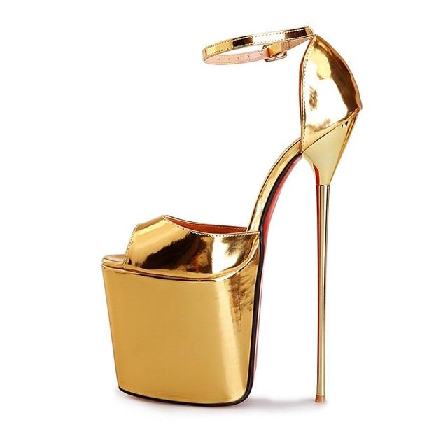 22CM Heel Height Sexy Peep Toe Stiletto Heel Pumps Party Shoes Metal heel  No.A