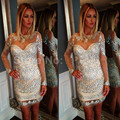 2016 Sexy Scoop Neck Short Mermaid Dress Long Sleeves Backless Short Prom Dress With All Crystal Cocktail Dresses