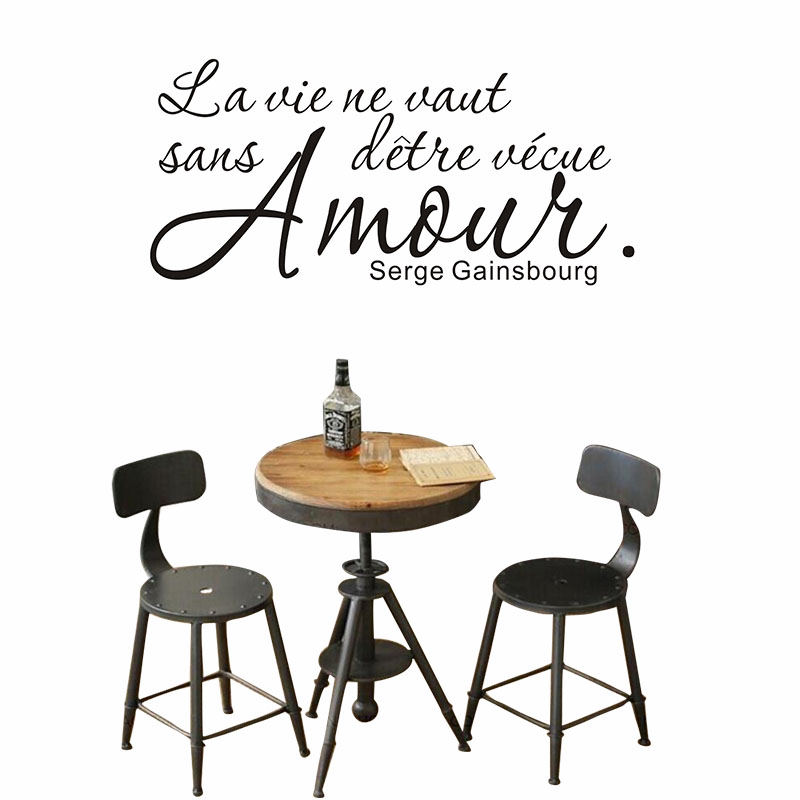 DCTOP Romantic French Sayings Quotes Wall Sticker Black Mural Living Room Door Bedroom Adesivos Vinyl Home Decoration -in Wall Stickers from Home \u0026 Garden ...  sc 1 st  AliExpress.com & DCTOP Romantic French Sayings Quotes Wall Sticker Black Mural ...