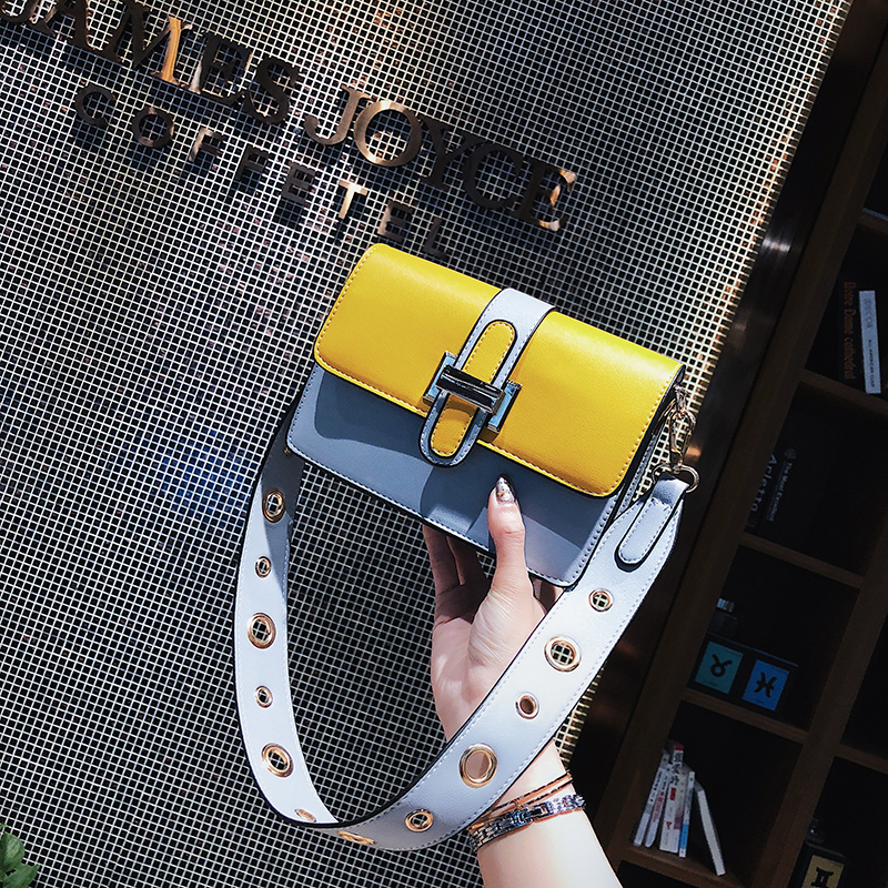 SINTIR Fashion Patchwork Wide Shoulder Straps Women Handbags High Quality PU Leather Women Shoulder Bags Small Crossbody Bags