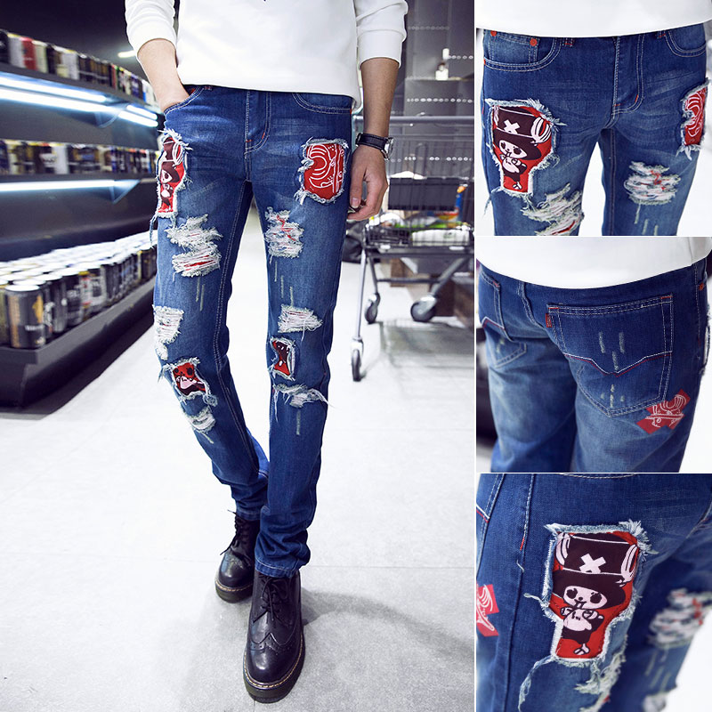 ФОТО 2016 new color italy designer mens jeans marque de luxe simply straight male men denim jeans high quality Men's jeans