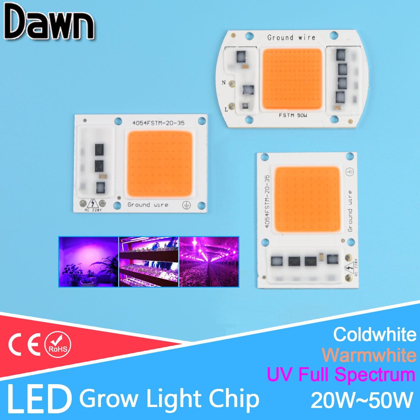 LED Grow Light Lamp Chip /UV Full Spectrum/Warmwhite/Coldwhite 220V 20W 30W 50W For Flower Plant Hydroponics Seedling Greenhouse