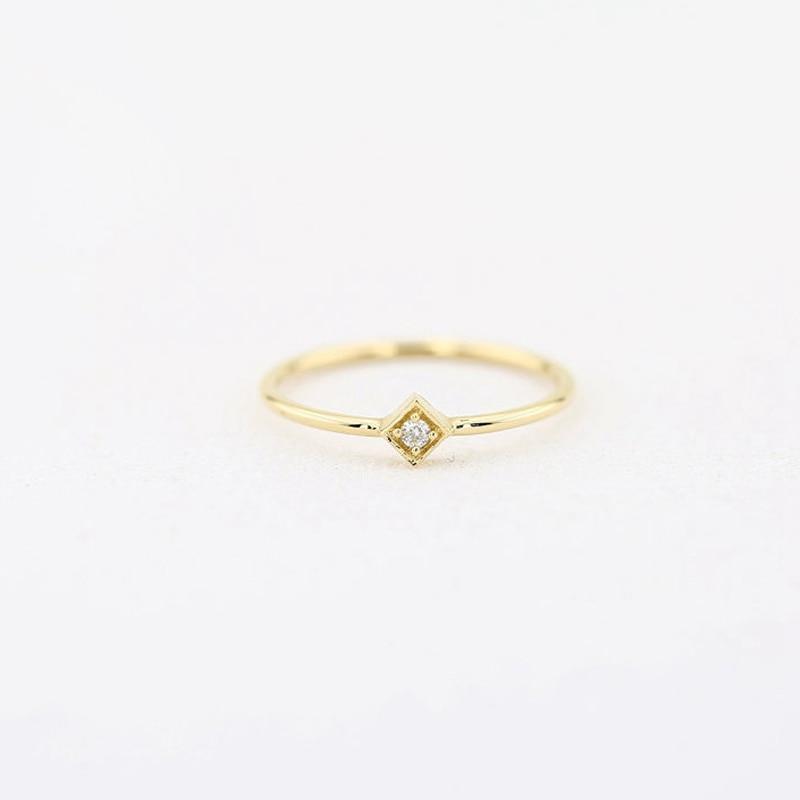 0.03CTW Projeto da Forma Redonda 14 k Branco/Amarelo/Rosa de Ouro Solitaire Natural de Noivado de Diamante Promessa de Casamento Anel - 2