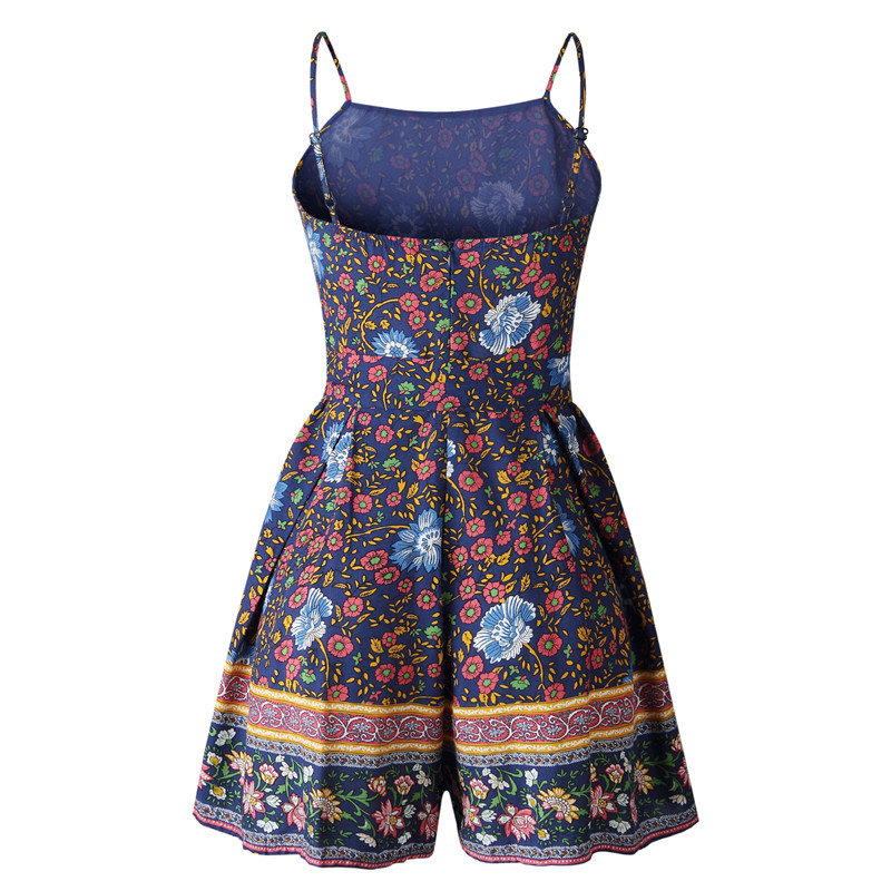 Leviortin Designer Jumpsuit High Quality Women Floral Romper With Belt Bohemian Strapless Boho Flower Print Beach Playsuit  (5)