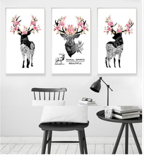 Nordic Simple hand-painted elk Animal Spirits Beautiful Poster canvas Home Decoration Combined poster