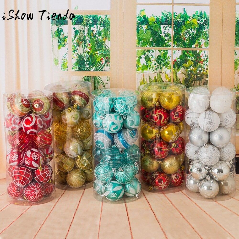 6cm Christmas Xmas Tree Ball Bauble Hanging Home Party Ornament Decor Sapin Noel Bolas De Plastico De Navidad