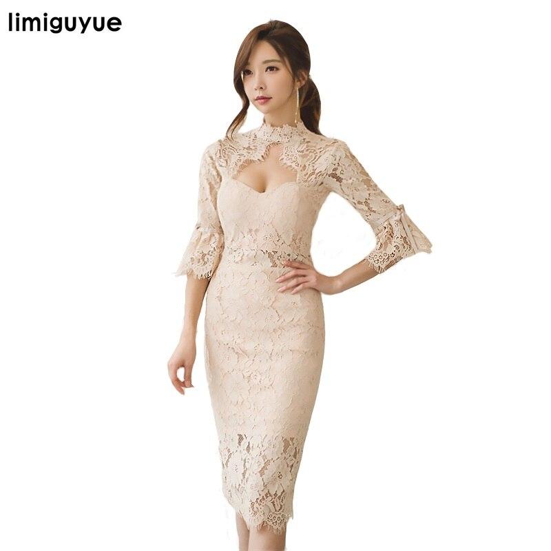 limiguyue sexy pencil lace dresses women korean OL sheath work casual slim elegant hollow out party dress long vestidos E149
