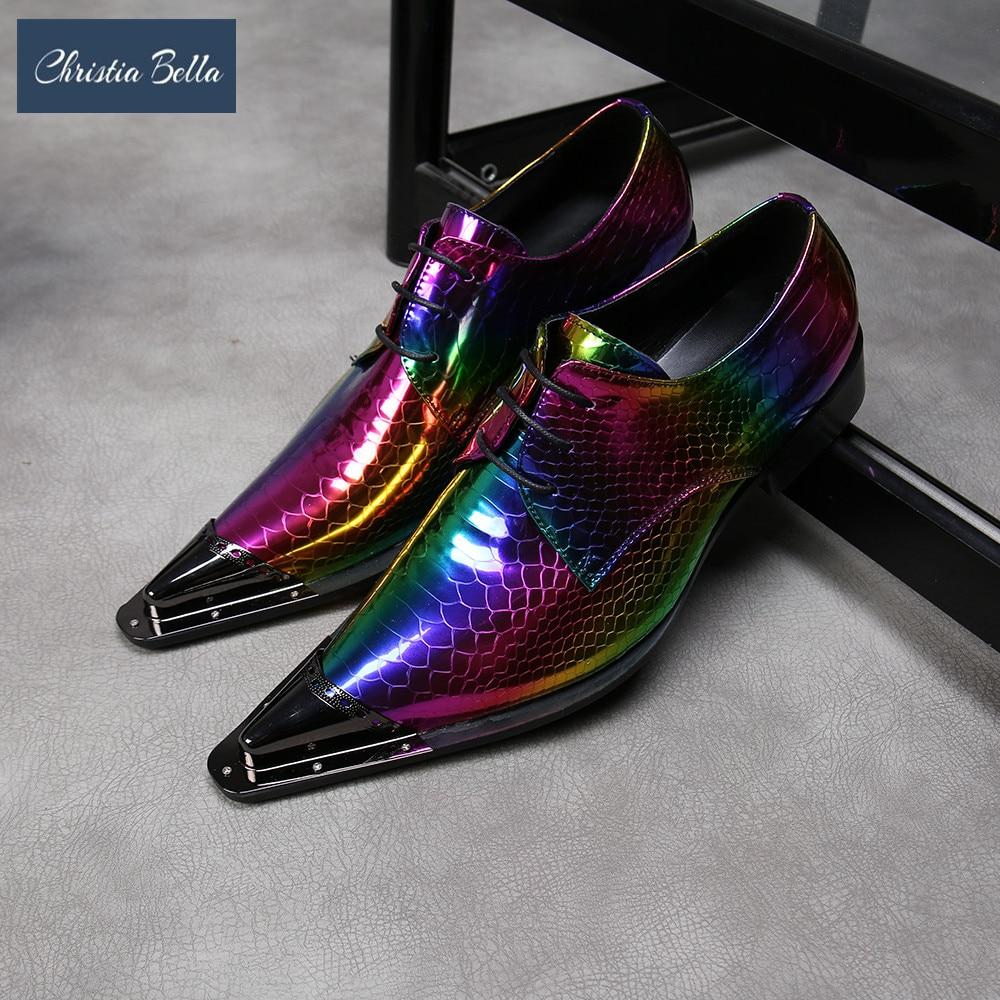 Christia Bella/Новинка; Вечерние разноцветные мужские туфли-оксфорды; Свадебная формальная обувь из натуральной кожи; Модельные туфли на шнуровке; Мужские броги