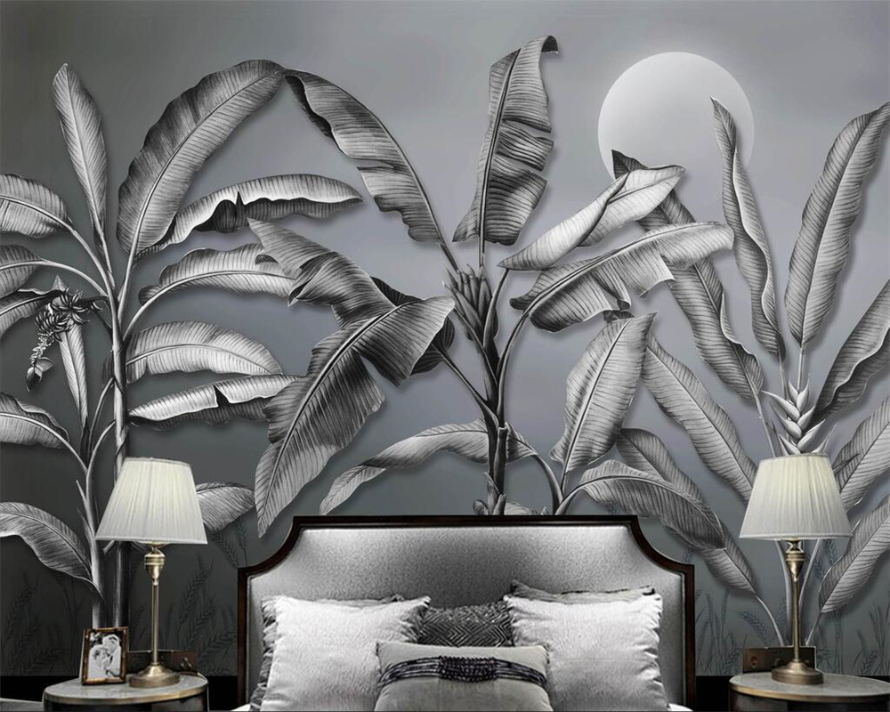 Beibehang Custom wallpaper Scandinavian black and white banana tree TV background wall living room bedroom murals 3d wallpaper the custom 3d murals parks sunrises and sunsets trees heart grass nature wallpapers living room sofa tv wall bedroom wall paper