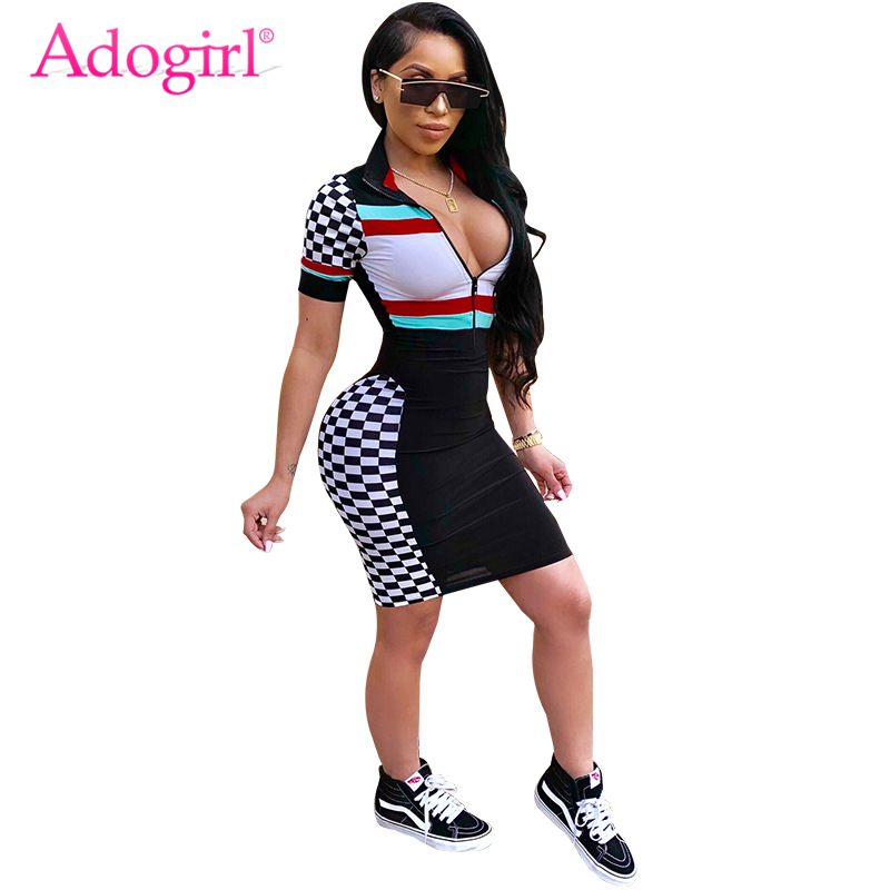 1cfc3f8924 Detail Feedback Questions about Adogirl Women Race Suit Style Plaid Print  Short Sleeve Summer Dress Zipper Front Bandage Mini Dresses Female Club  Wear ...